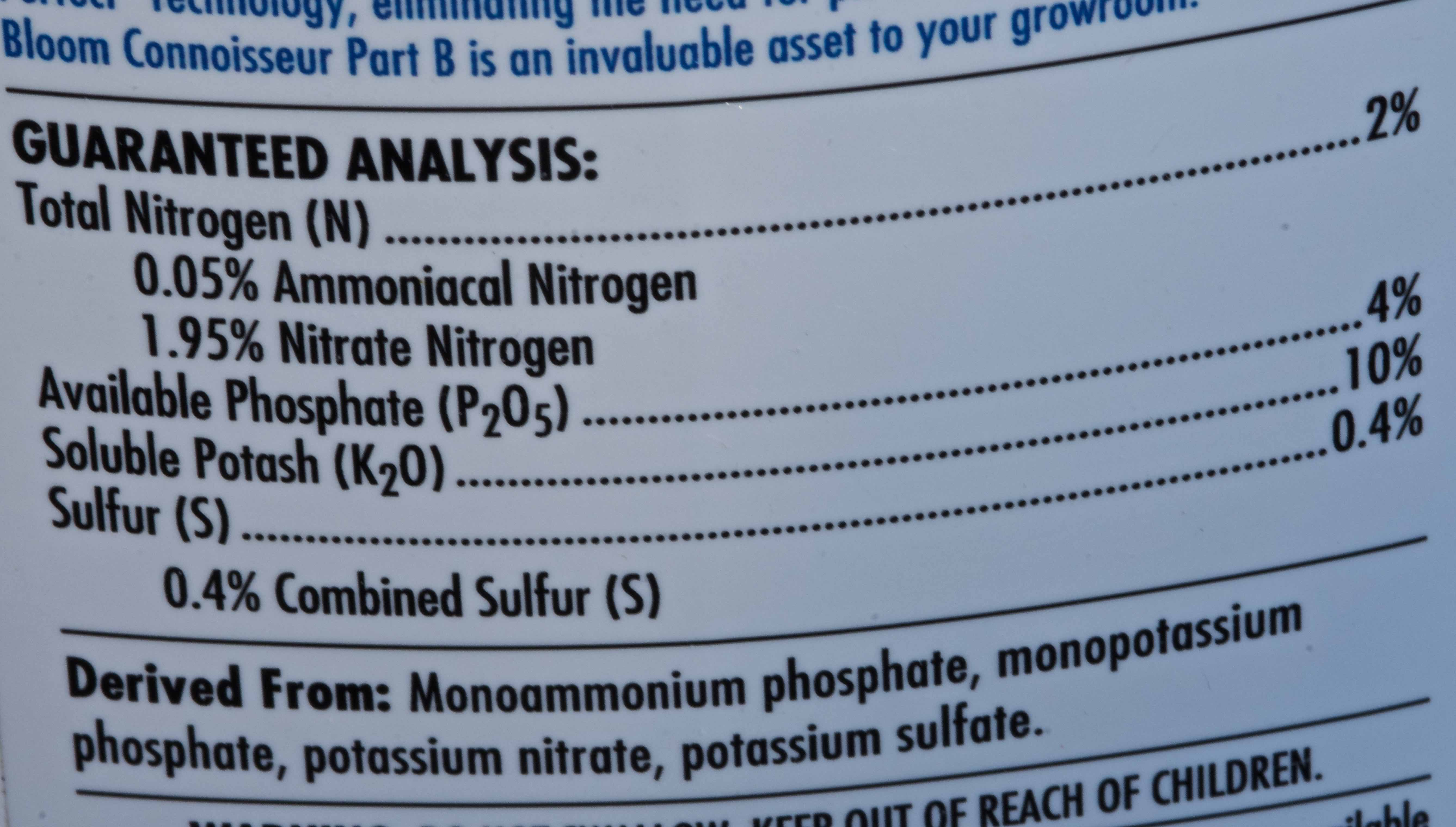 The ingredients label from Connoisseur Part B bloom phase hydroponics base nutrients.