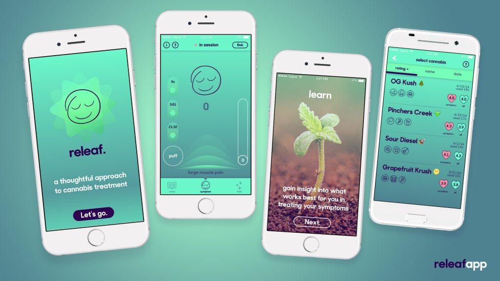 The Releaf app thoughtfully encourages medical marijuana patients to track their experiences.