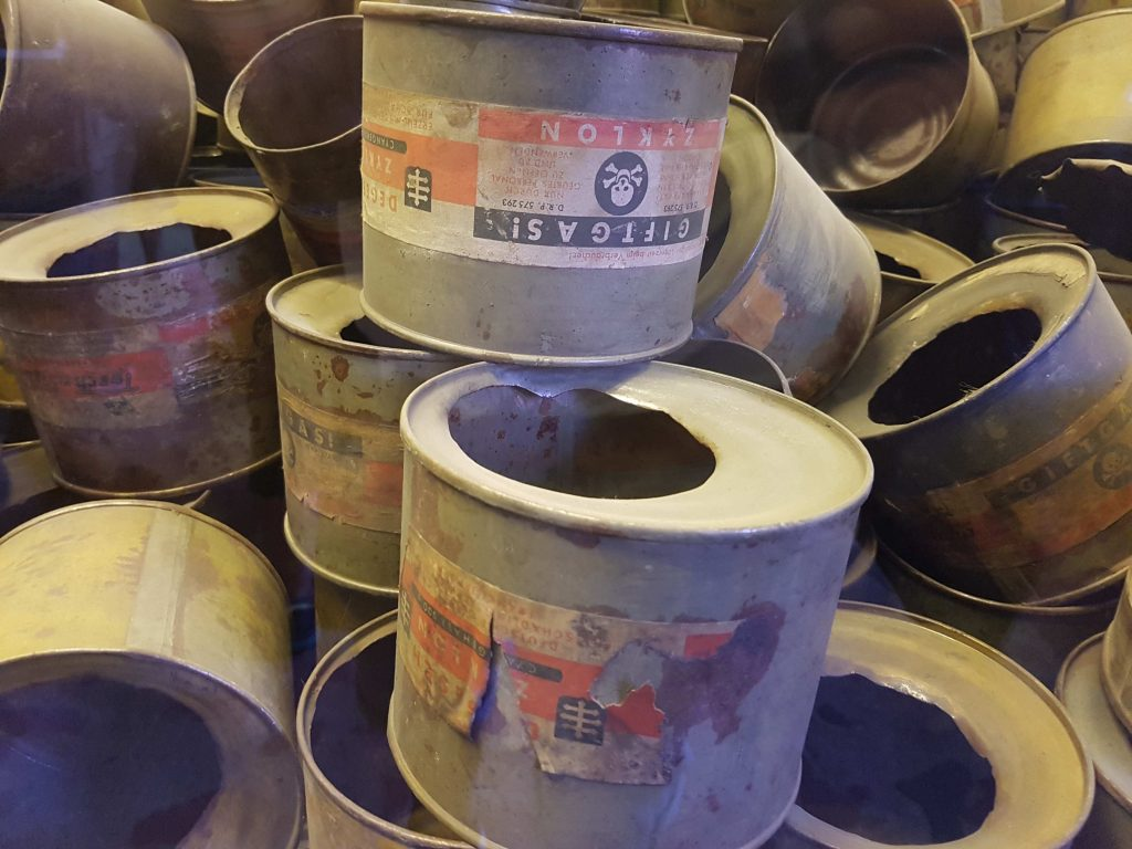 Spent cans of cyanide-based pesticide Zyklon B, used by Nazi Germany during the Holocaust at Auschwitz-Birkenau, Poland. Zyklon B was manufactured by IG Farben.