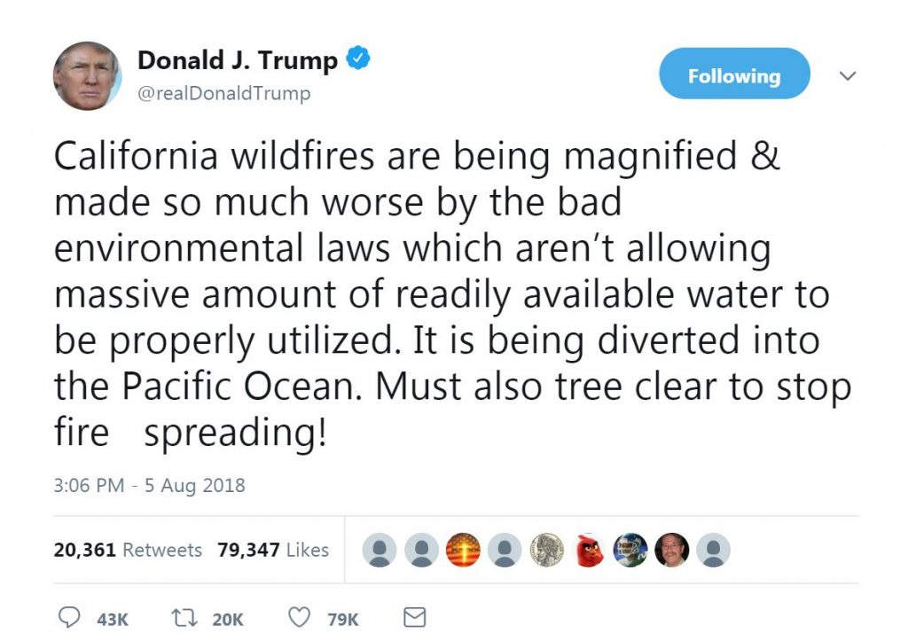 trump tweet CA wildfires