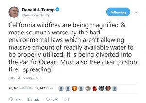 trump tweet CA wildfires