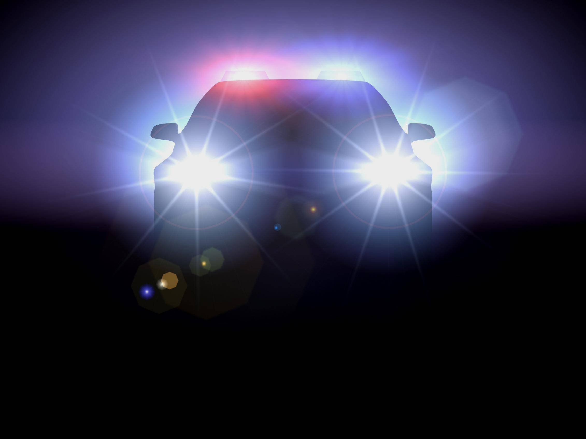 police car head lights