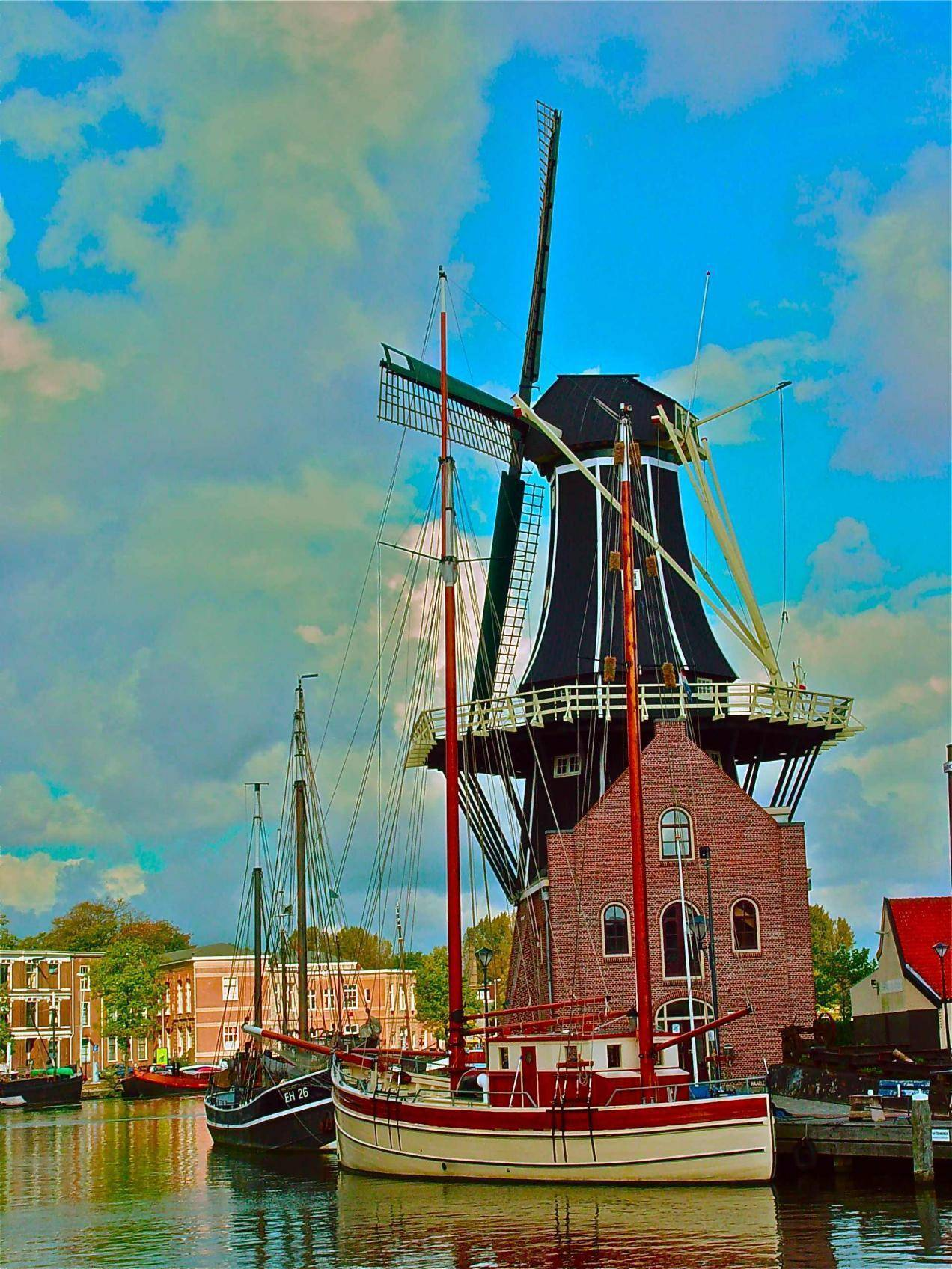 windmill and boats in Holland