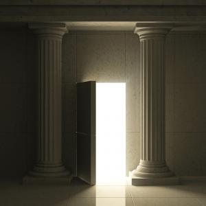 open door with light entering