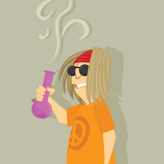 purple bong smoking